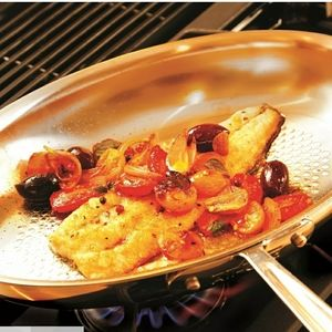 """All-Clad D3 Stainless Steel Oval Fish Pan - 12"""""""
